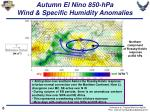 autumn el nino 850 hpa wind specific humidity anomalies