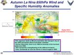 autumn la nina 850hpa wind and specific humidity anomalies