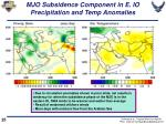 mjo subsidence component in e io precipitation and temp anomalies