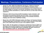 meetings presentations conference participation