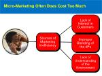 micro marketing often does cost too much