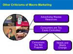 other criticisms of macro marketing