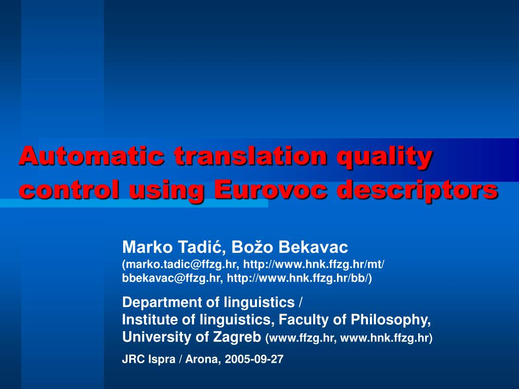 automatic translation quality control using eurovoc descriptors l.