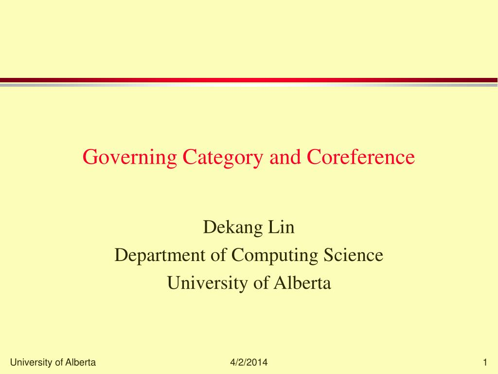 governing category and coreference l.