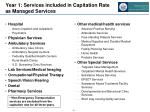 year 1 services included in capitation rate as managed services
