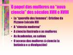 o papel das mulleres na nova ciencia dos s culos xvii e xviii