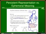 persistent representation vs ephemeral meaning