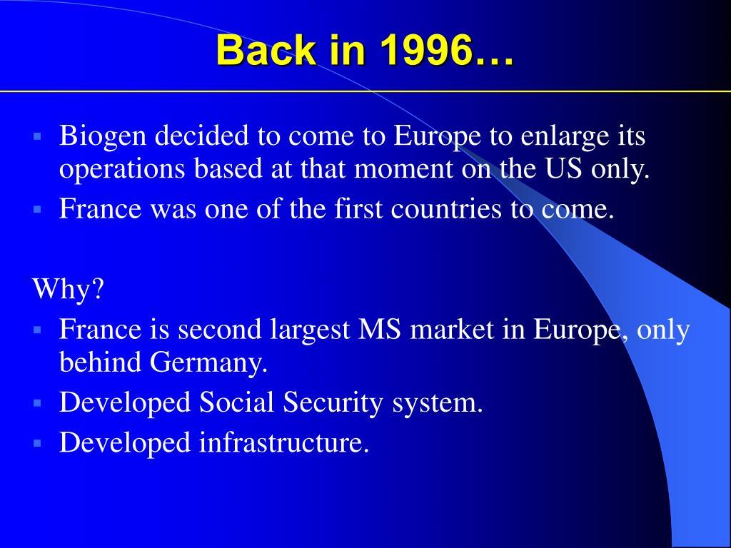 Back in 1996…