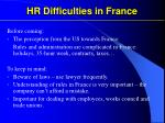 hr difficulties in france