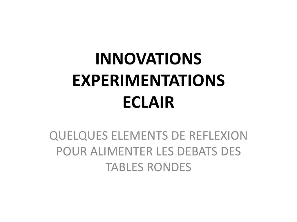 innovations experimentations eclair l.