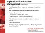 implications for amputee management