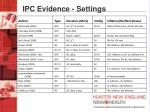ipc evidence settings