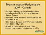 tourism industry performance 2007 canada