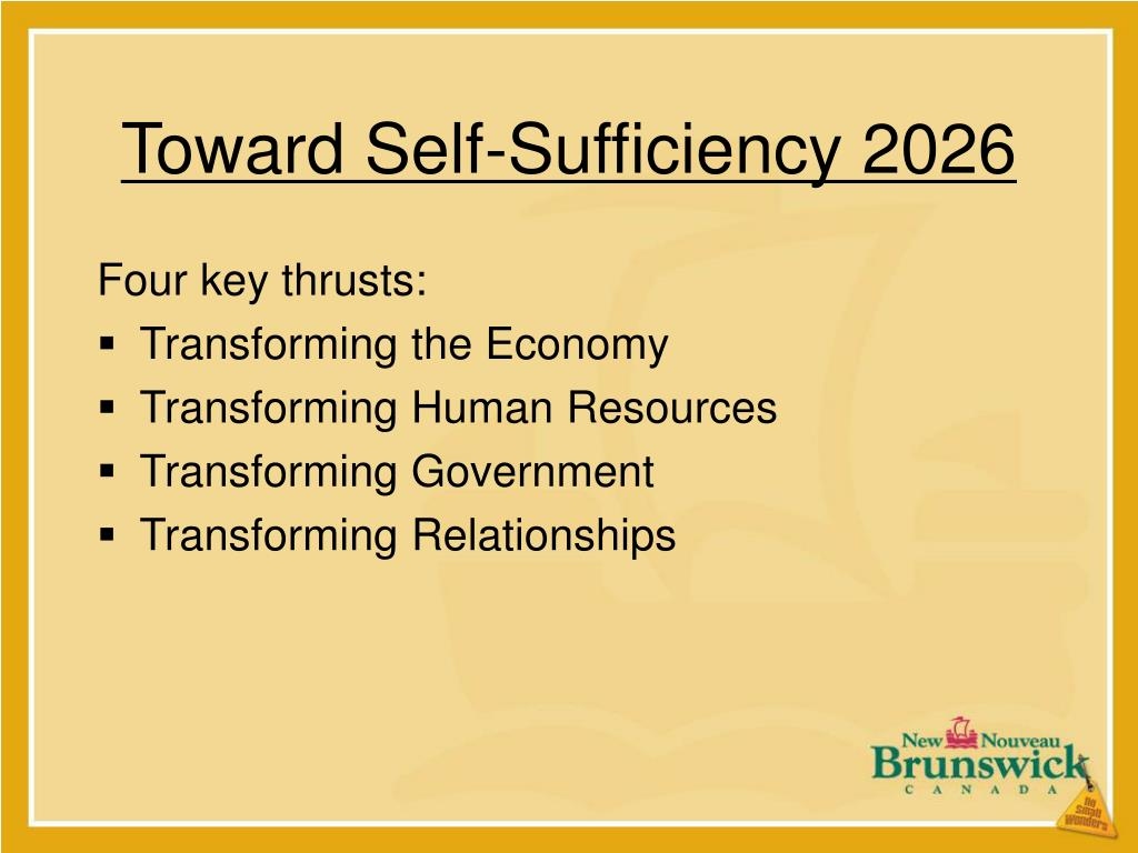 Toward Self-Sufficiency 2026