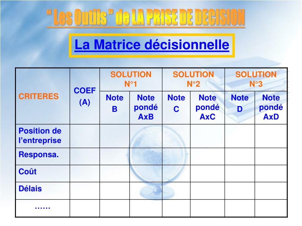 """""""Les Outils """" de LA PRISE DE DECISION"""