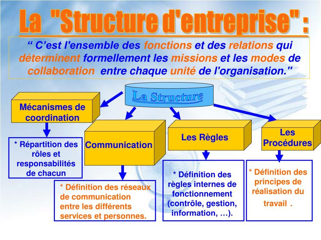 """La  """"Structure d'entreprise"""" :"""