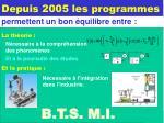 depuis 2005 les programmes