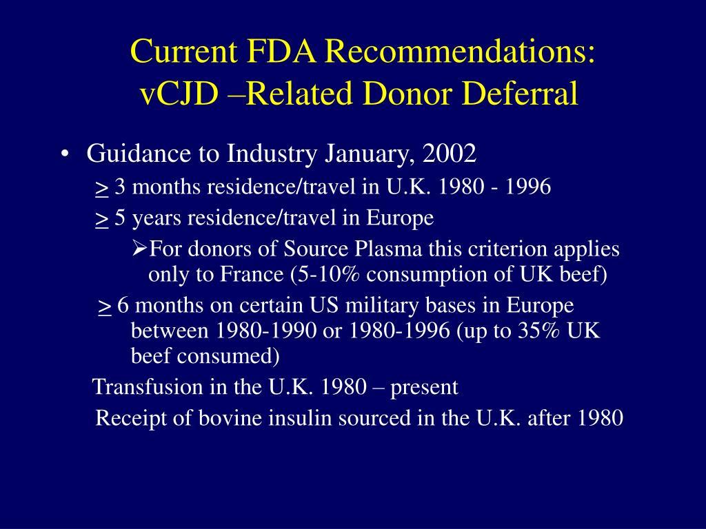 Current FDA Recommendations: