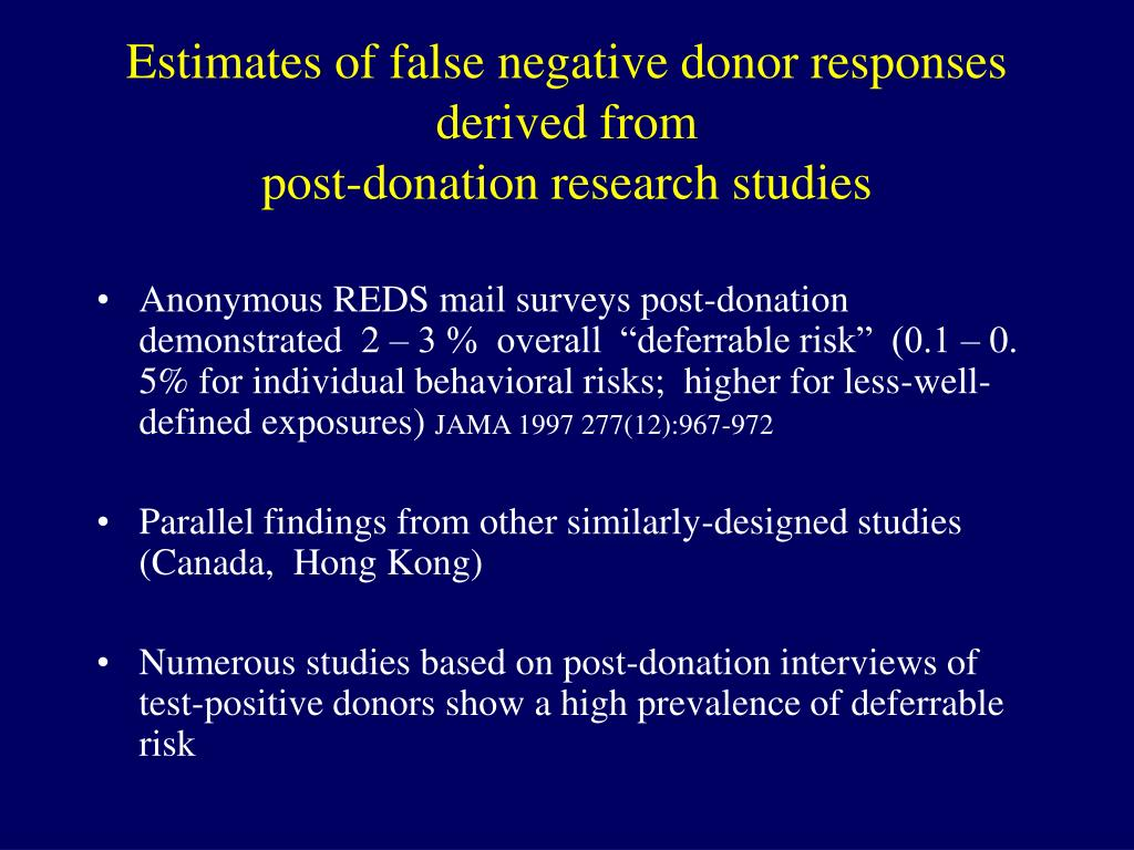 Estimates of false negative donor responses derived from