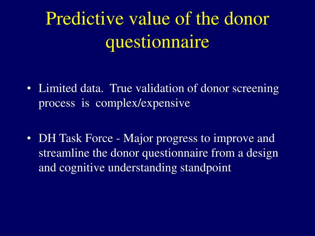 Predictive value of the donor questionnaire