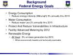 background federal energy goals