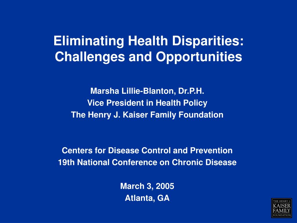 eliminating health disparities challenges and opportunities l.
