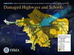 damaged highways and schools