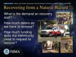 recovering from a natural hazard