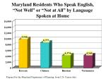 maryland residents who speak english not well or not at all by language spoken at home47
