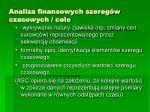 analiza finansowych szereg w czasowych cele