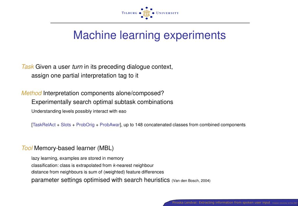 Machine learning experiments