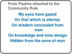 from psalms attached to the community rule