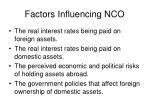 factors influencing nco