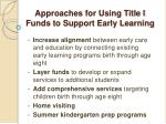 approaches for using title i funds to support early learning