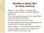 benefits of using title i for early learning