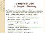contacts at ospi to support planning