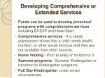 developing comprehensive or extended services