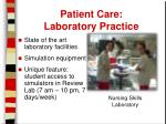 patient care laboratory practice