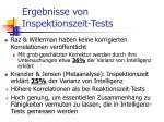ergebnisse von inspektionszeit tests