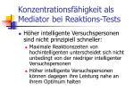 konzentrationsf higkeit als mediator bei reaktions tests
