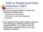 kritik an reaktionszeit tests detterman 1987