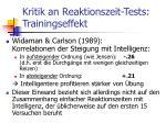 kritik an reaktionszeit tests trainingseffekt