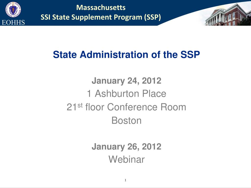 massachusetts ssi state supplement program ssp l.