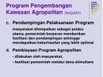 program pengembangan kawasan agropolitan lanjutan