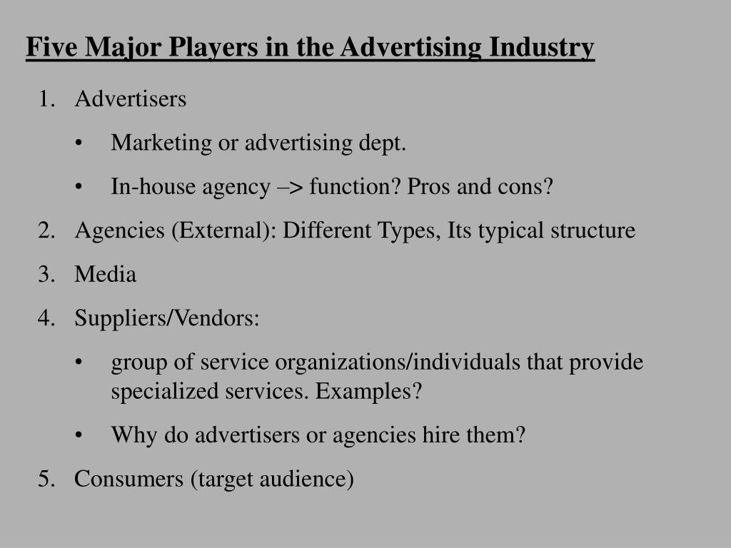 five major players in the advertising industry l.