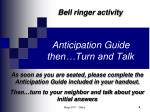 anticipation guide then turn and talk