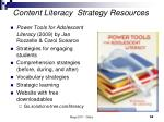 content literacy strategy resources