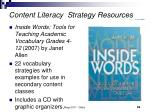 content literacy strategy resources69