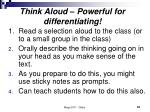 think aloud powerful for differentiating