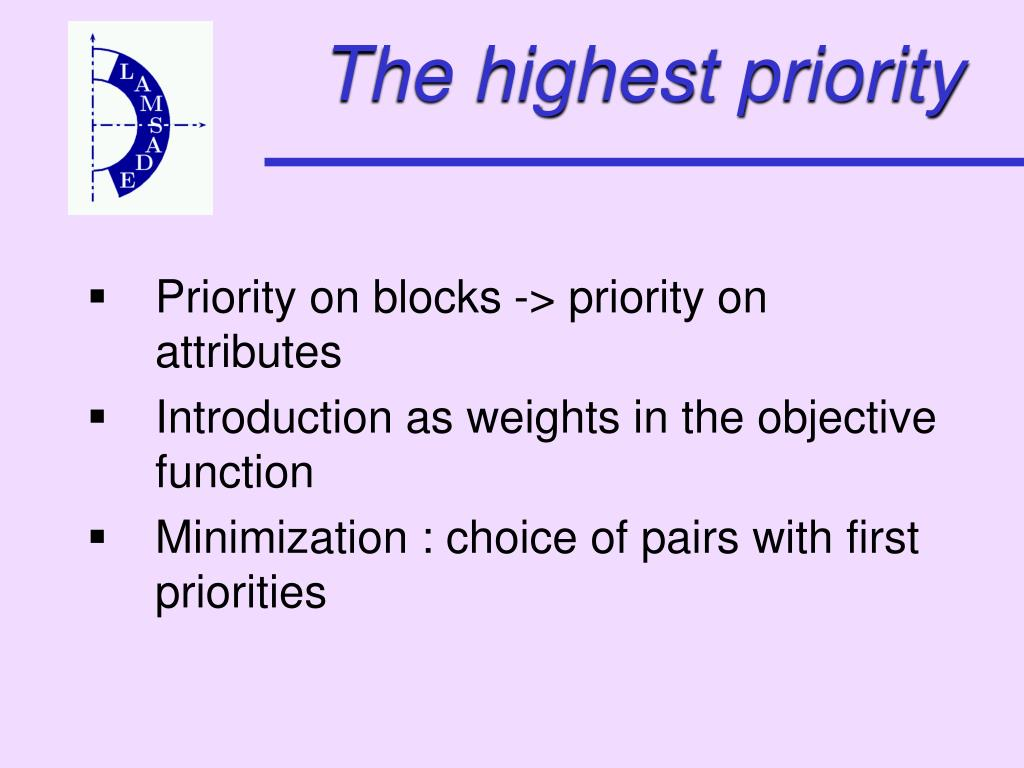 The highest priority